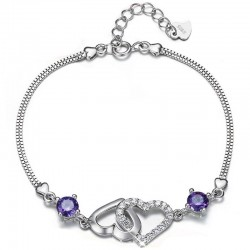 Silver natural amethyst heart-shaped bracelet