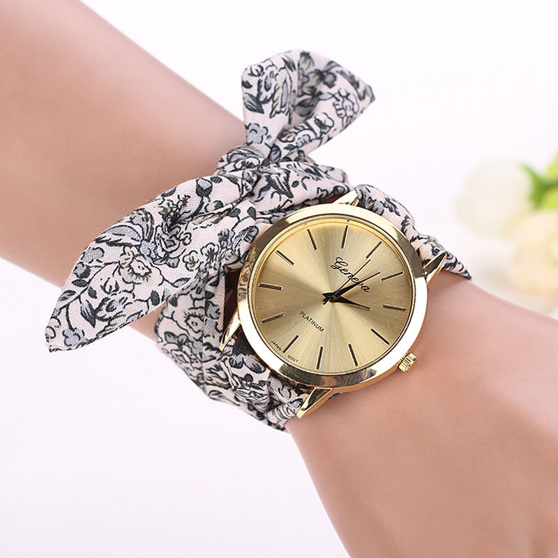 high cloth flower design watch fashion ladies new fabric dress girls women watches quality wrist product sweet